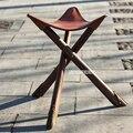 Ручной работы ретро складной деревянный стул для рыбалки портативный воловья кожа треугольник 100% натуральная кожа Дерево открытый пляжный...