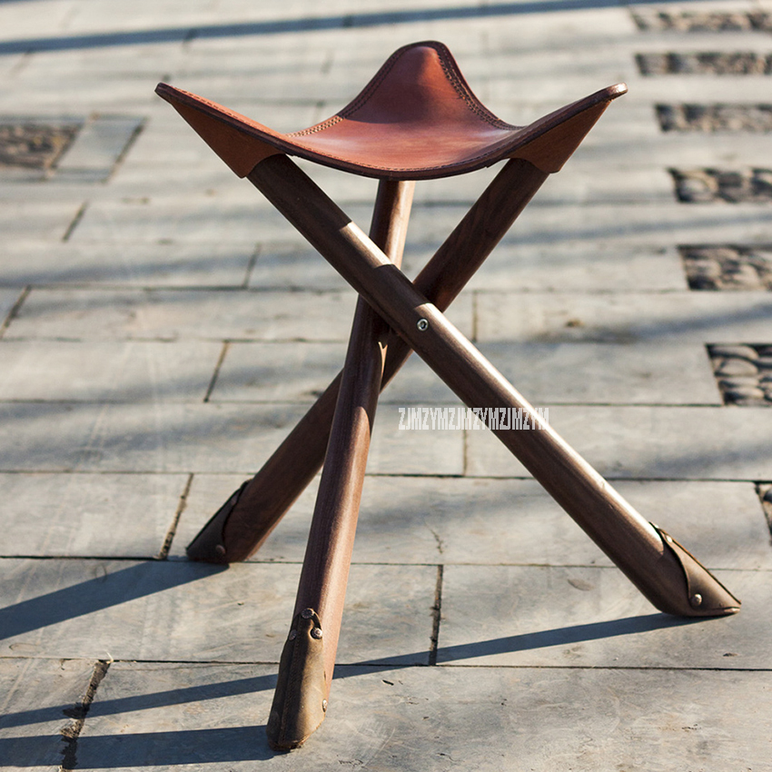 Handmade Retro Foldable Fishing Wooden Chair Stool Portable Cowhide Triangle 100% Genuine Leather Wood Outdoor Beach ChairHandmade Retro Foldable Fishing Wooden Chair Stool Portable Cowhide Triangle 100% Genuine Leather Wood Outdoor Beach Chair