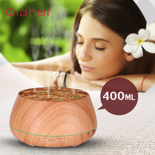 GIAHOL 400ml USB Aroma Essential Oil Diffuser Ultrasonic Aromatherapy Air Humidifier with Wood Grain 7 Color LED lights for Home