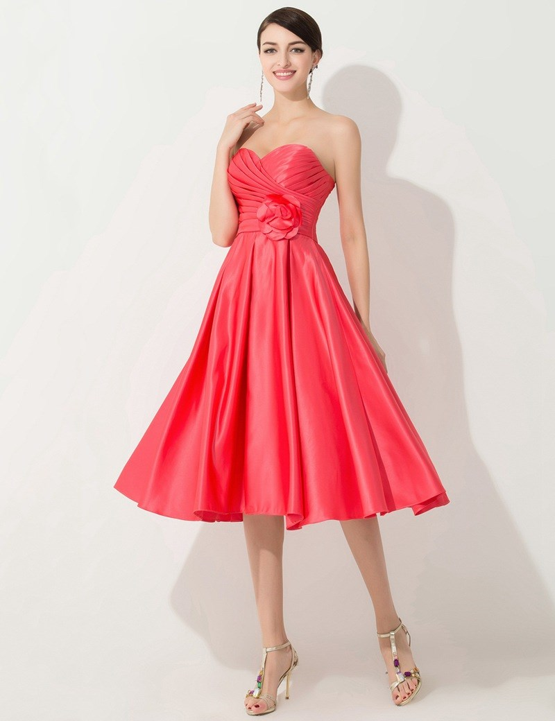 Sweetheart coral colored bridesmaid dresses cheap tea for Wedding dresses in color