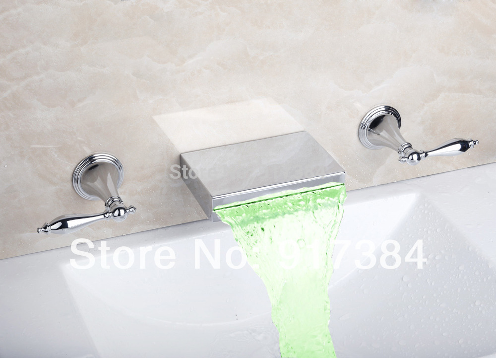 LED  Waterfall  Ceramic  Double Handles Deck Mounted Bathroom Bathtub Basin Sink Mixer Tap 3 pcs Chrome Faucet Set FG-3124 wall mounted dual handles waterfall bathroom sink basin faucet chrome finish 3 holes basin mixer tap free shipping lt 302