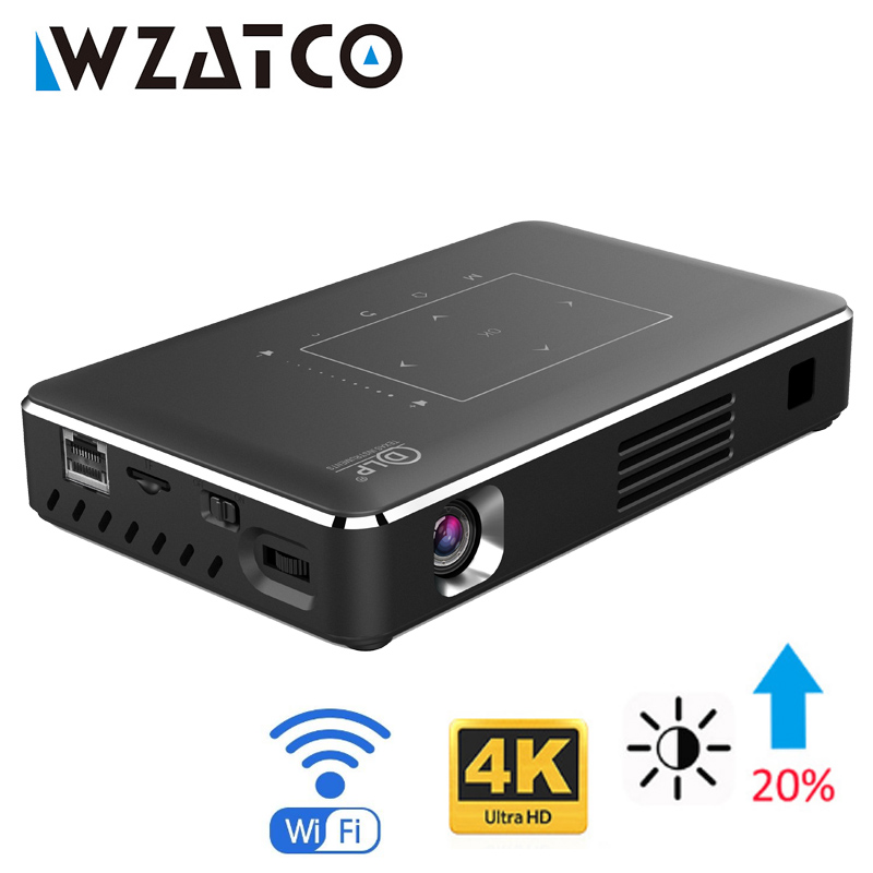 WZATCO Android WIFI Bluetooth 4 1 Smart LED DLP Projector Support 4k Full HD 1080P Home