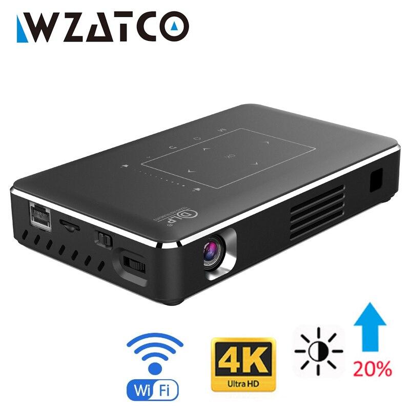 WZATCO Smart LED DLP Projektor Android WIFI Bluetooth 4,1 Unterstützung 4k Volle HD 1080P Heimkino Beamer Proyector 4100mAh Batterie