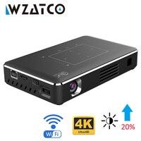 Tüketici Elektroniği'ten LCD Projektörler'de WZATCO akıllı LED DLP projektör Android WIFI Bluetooth 4.1 desteği 4k Full HD 1080P ev sineması Beamer Proyector 4100mAh pil