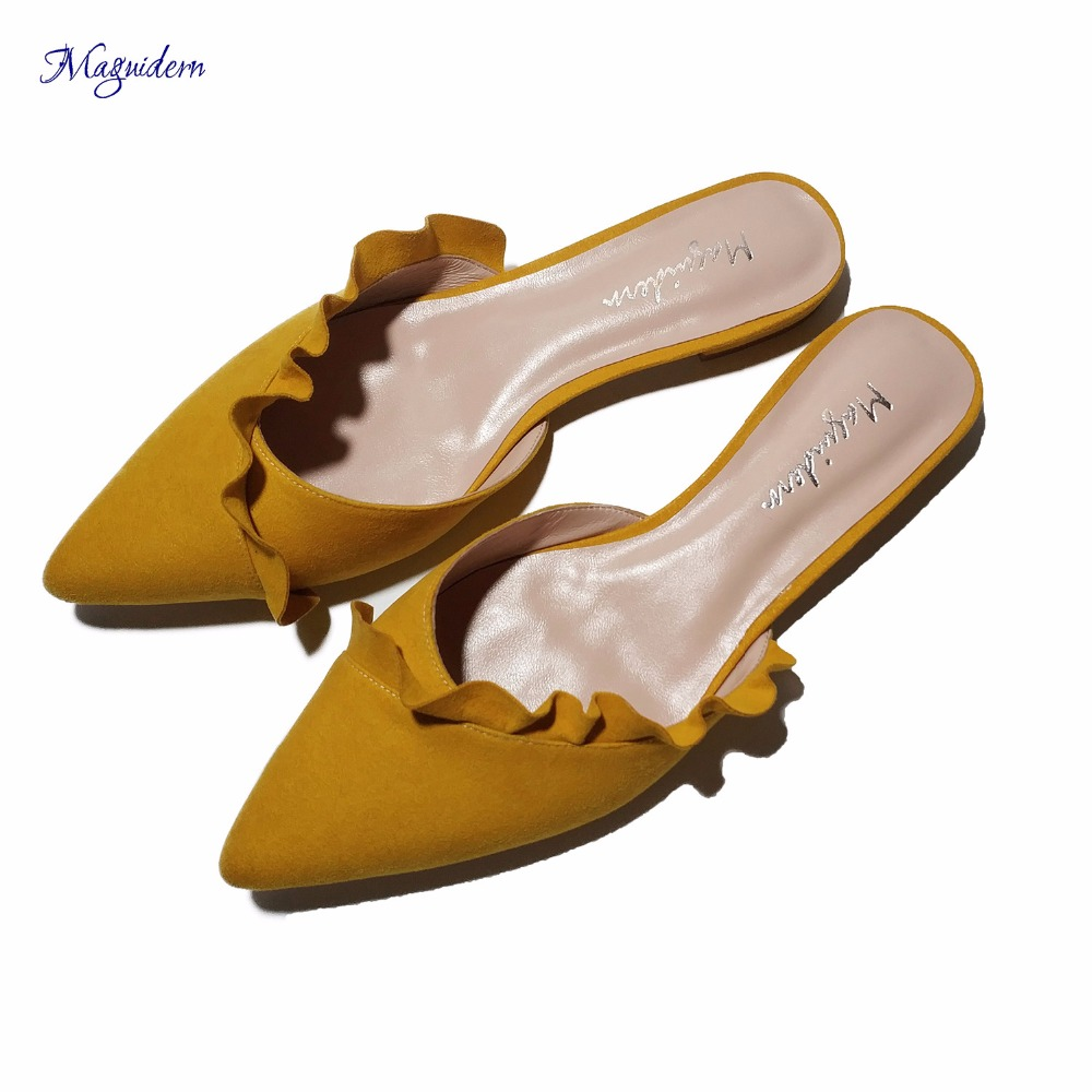 цены на Maguidern Mules for Women, Ruffle Trimmed Slides Backless Flat Sandals Slip On Pleated Loafer Slides Slippers Plus Size в интернет-магазинах