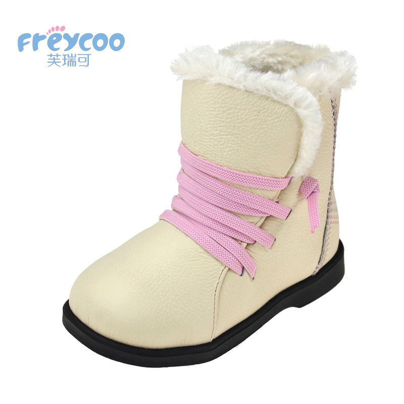 Freycoo 2019 New Fashion Winter Baby Kids Shoes For Girls Boys Cowskin Genuine Leateher Children Cotton-padded snow boots