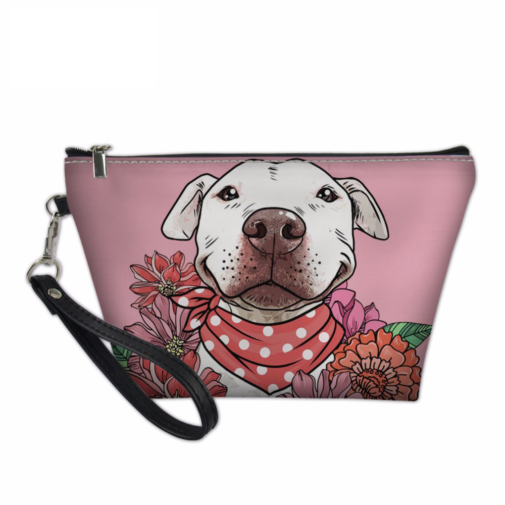 Noisydesigns Makeup Pouch Organizers Bags Women Pit Bull Terriers Toiletry Bag Pink Cosmetics Make Up Pouchs Functional 55 Bag
