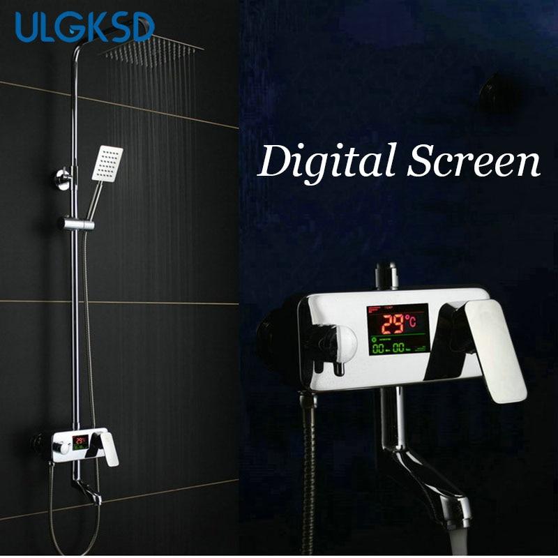 ULGKSD Bathroom Shower Faucet Chrome Finish 8 inch Shower Head Temperature Display W/ Hand Shower System Head Sprayer Mixer Tap