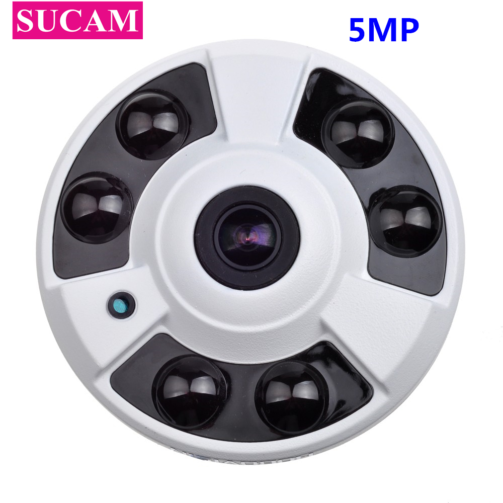 SUCAM Wide Angle Fisheye 5MP AHD CCTV Camera 6 Pieces Array IR Led 180 Degrees Analog Home Security Camera with OSD Cable sucam wide angle 5mp ahd security camera outdoor 1 7mm 180 degrees fisheye lens night vision waterproof cctv camera with bracket
