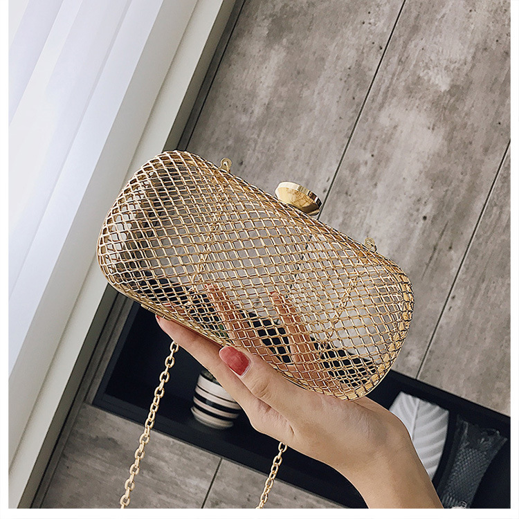 2018 Stylish Elegant Dinner Bag,new-fashioned Metal Hollow Out Mini Bag Banquet Party Shoulder & Crossbody Bags stylish women s crossbody bag with hollow out and chains design