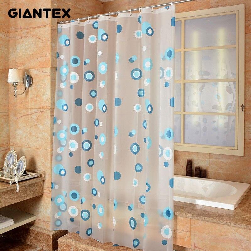 Wonderful GIANTEX Blue Circle Pattern PEVA Bathroom Waterproof Shower Curtains With  Plastic Hooks U1094(China (