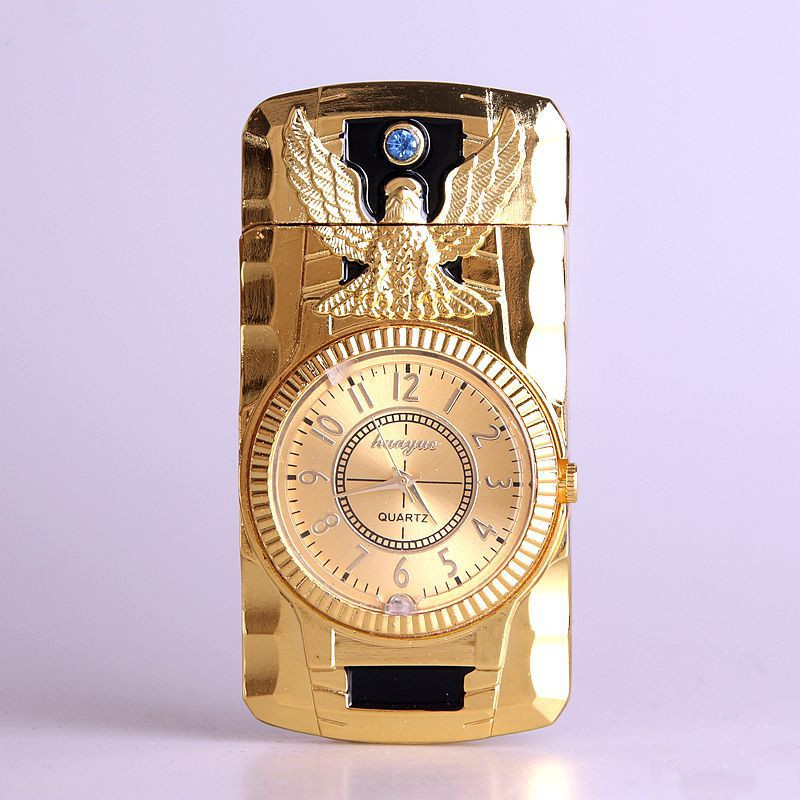 Butane Jet Lighter Clock Torch Turbo Lighter Men Gold Watch Quartz Compact Butane Cigarette Cigar Straight Fire Lighter NO GAS