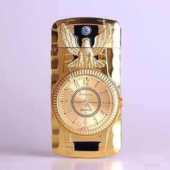 цена на Butane Jet Lighter Clock Torch Turbo Lighter Men Gold Watch Quartz Compact Butane Cigarette Cigar Straight Fire Lighter NO GAS