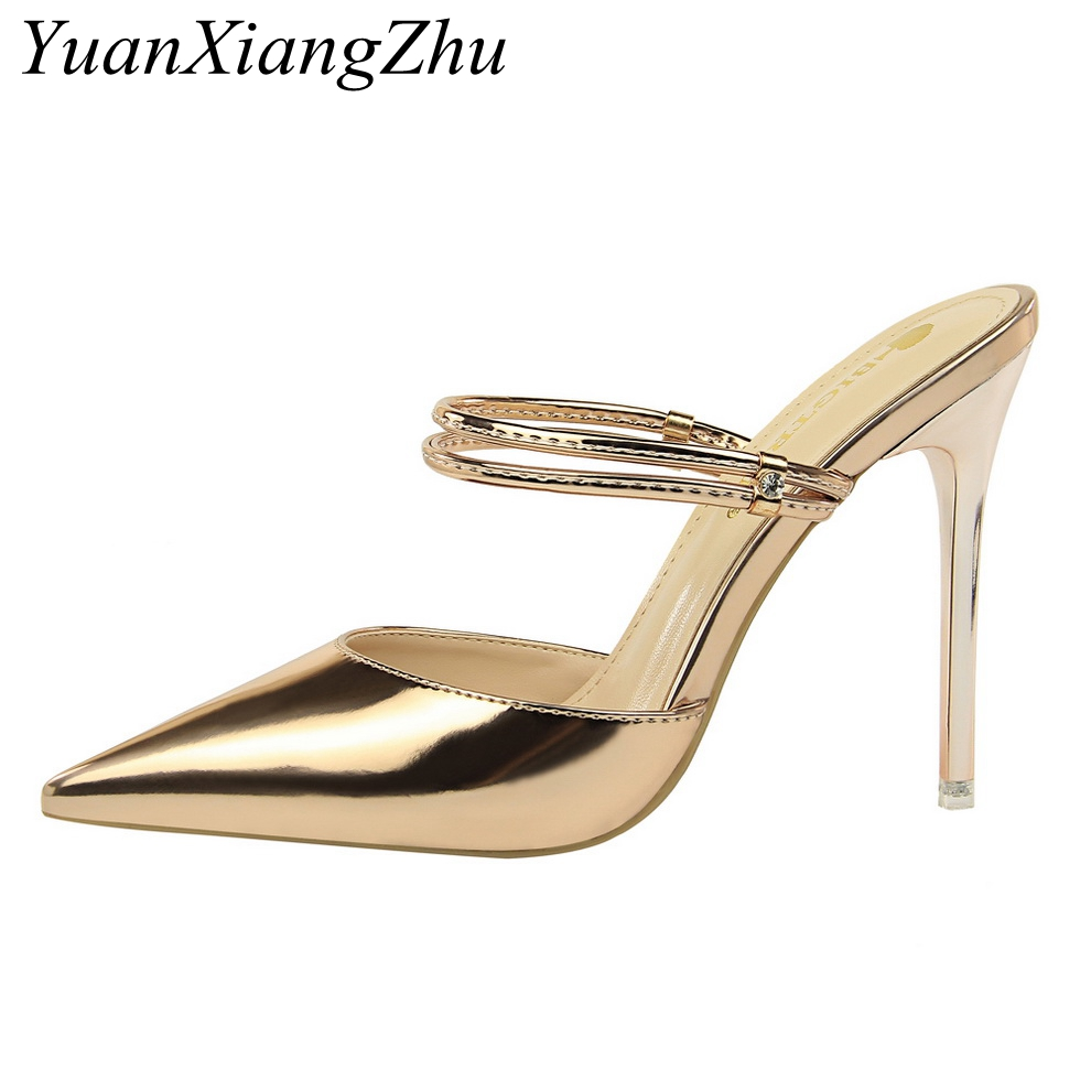 15d4a68ae3f3c Women Pumps Sexy High Heels Sandals Woman Wedding Party High Heels Gold  silver Shoes 2018 Summer New Ladies High-heeled Slippers