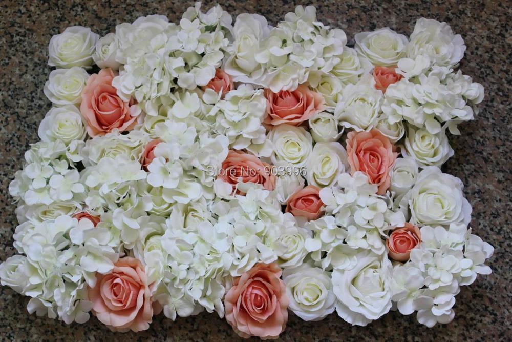SPR 무료 배송 - 10pcs / lot 복숭아 화이트 장미 이벤트 계획 아이디어 꽃 벽 장미 실크 꽃 장식 인공