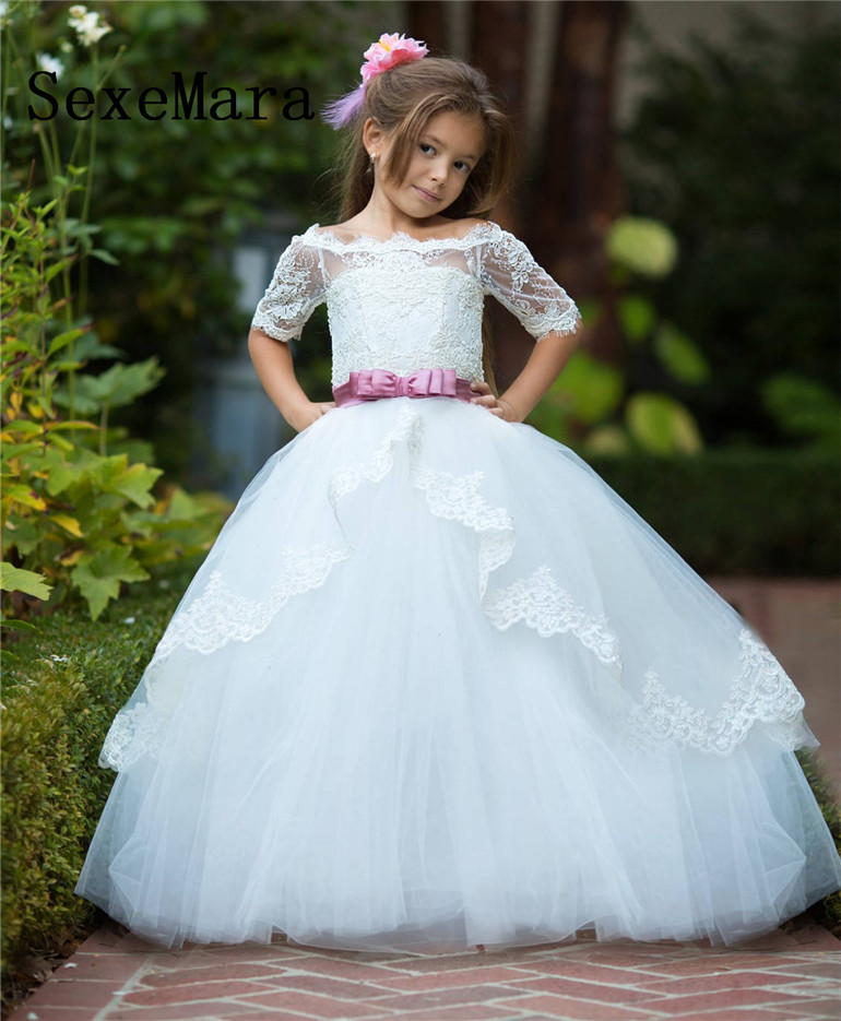 White Ivory Off the Shoulder Flower Girls Dresses for Wedding Puffy Tulle Layered Kids Custom First Communion Dress Party Gown random floral print off shoulder top with layered details
