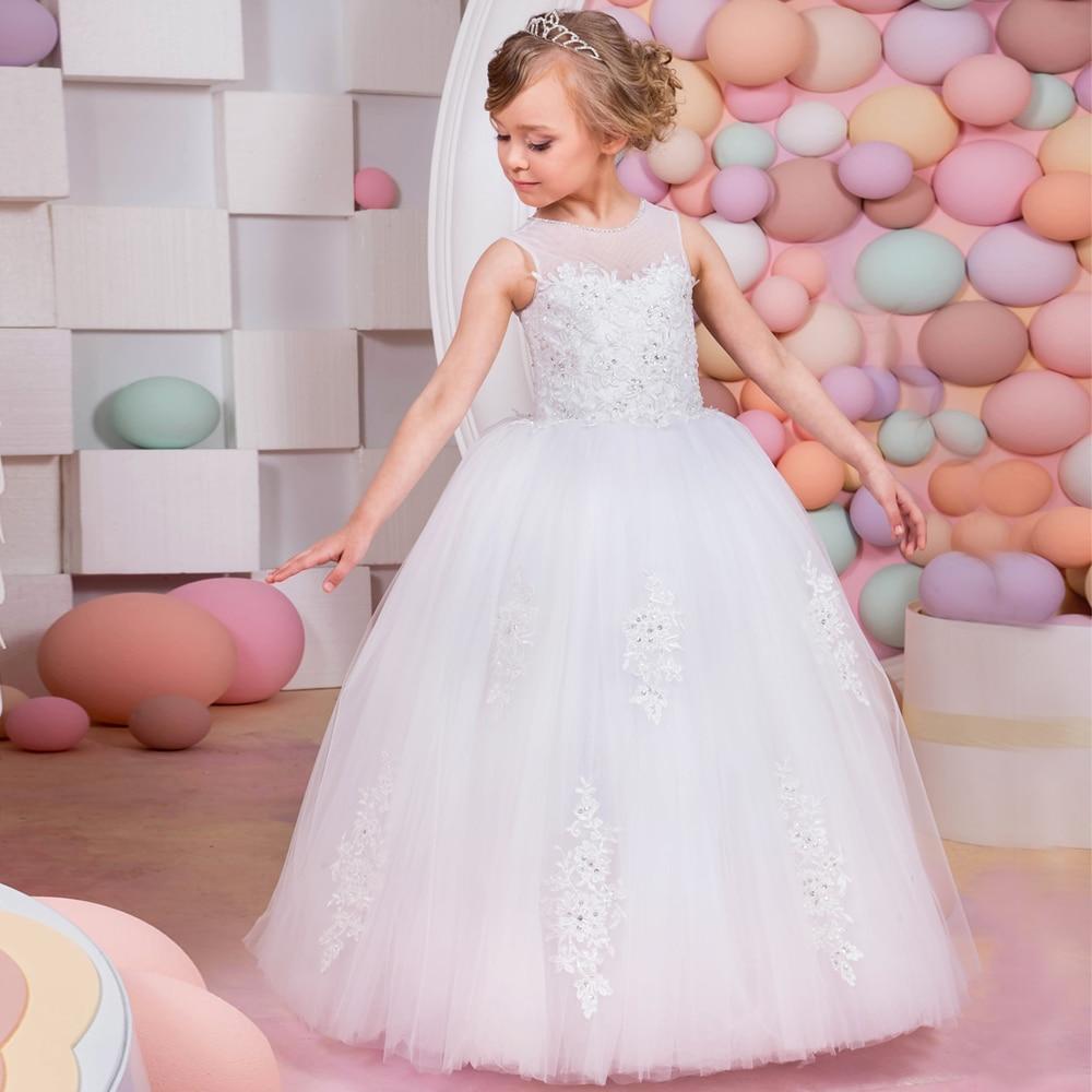 Flower Girl Dresses Lace Up Sleeveless Ball Gown Sleeveless Solid O-Neck Appliques Hot Sale New Vestidos De Primera Comunion elikor оптима 50 медный антик