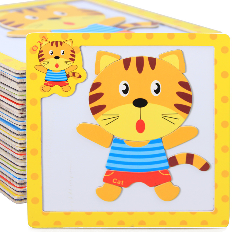 Montessori Toys Educational Wooden Toys for Children Early Learning 3D Magnetic Cartoon Animal Math Intelligence Puzzles