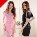Transparente Bordado Escavar Manga Slipt Cetim Robes Para As Mulheres Em Casa Feminino Sexy Robes Peignoir Roupão Verão