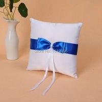 לבן וכחול רויאל Bowknot סאטן טבעת נישואים כרית חתונה קישוטי WS31