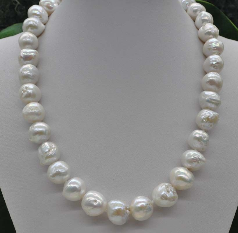 NEW fashion Natural Rare white 14 15mm kasumi Pearl Necklace 18 006