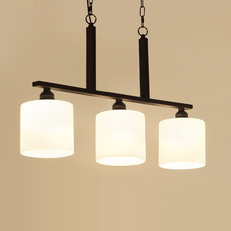 Modern Simple Wrought Iron Pendant Light 3 Lights American Village Glass Lampshade Hanging Lamp Fixture For Dining Room PL647 free shipping modern glass pendant lamp 3 lights creative dining room experimental bottle hanging light fixture pl057