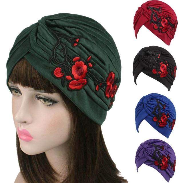 d1ea6dd411551 NewTop Quality Women Embroidery Cancer Chemo Hat Beanie Scarf Turban Head  Cap hats for women beret boina feminina drop shopping