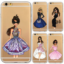 Phone Cases for iphone 4 4s 5c 5 5s 6 6s Plus 6Plus Soft Slim TPU Transparent Cartoon Modern Sexy Girls Pattern Case Cover
