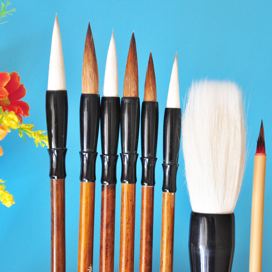 8pcs/pack Chinese Calligraphy Brush Weasel Hair painting Brush Water Color Brush Pen Art Supplies Stationary minimal japanese calligraphy brush line brush rabbit hair writing brush pen calligraphy painting art supplies stationary