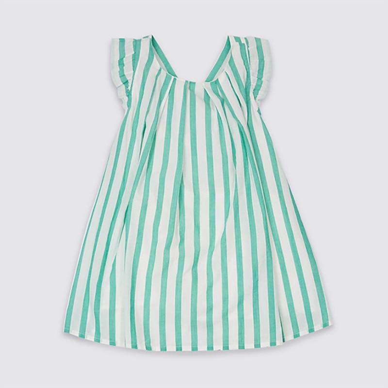 Pouco Maven Nova Roupa de Crianças de Verão Sem Mangas Doce Cruz Listrado Impresso Areias O-pescoço Tecido 1-6yrs Meninas Vestidos de Algodão