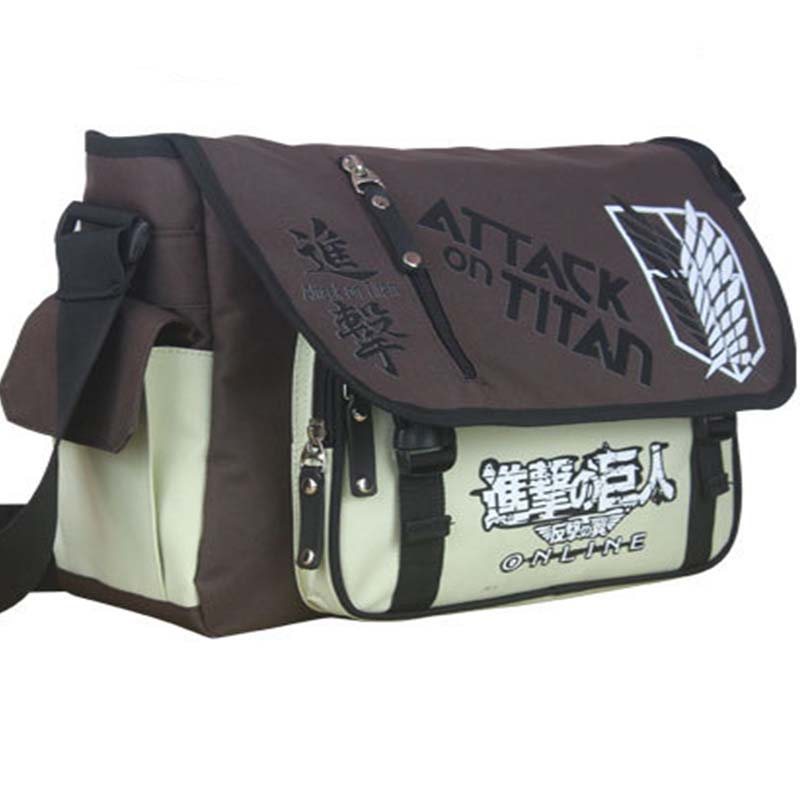 Attack on Titan Canvas Shoulder Bag Laptop Satchel Bags Bolsa Feminina Unisex Students Messenger Bags