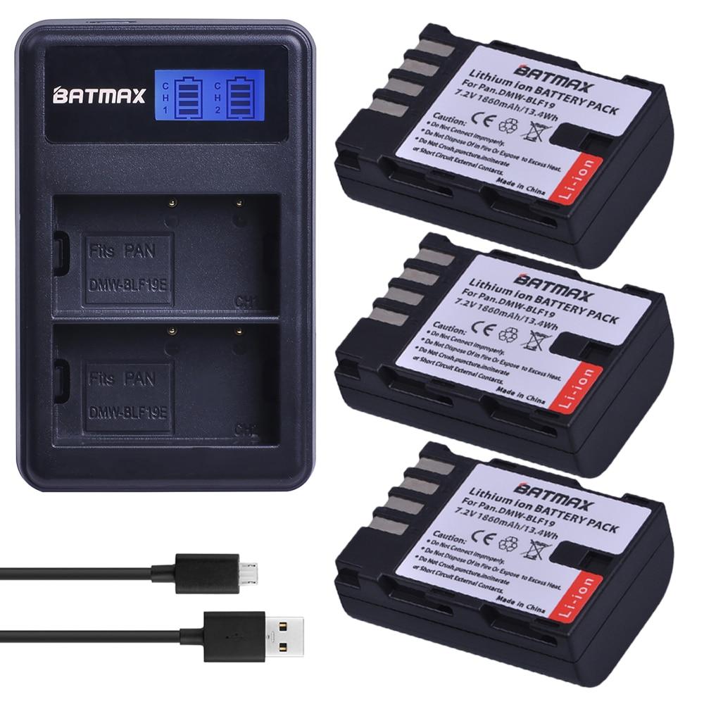 3X DMW-BLF19 DMW-BLF19E DMW-BLF19PP BLF19E Battery+ LCD Dual Charger For Panasonic Lumix GH3 GH4 GH5 DMC-GH3 DMC-GH4 DMC-GH5 G9