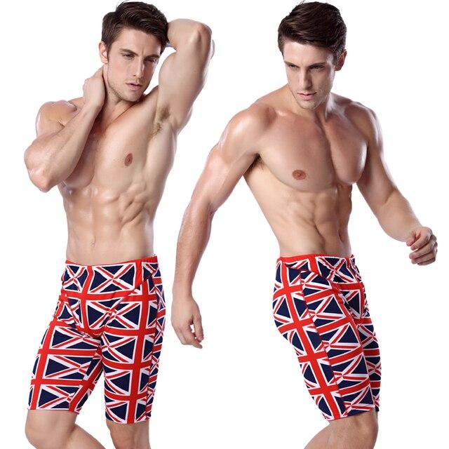 09e873ec83f UK Flag Print Swimming Jammer Knee Length Swim Trunks Men Elastic-band Man  Swimwear Waist