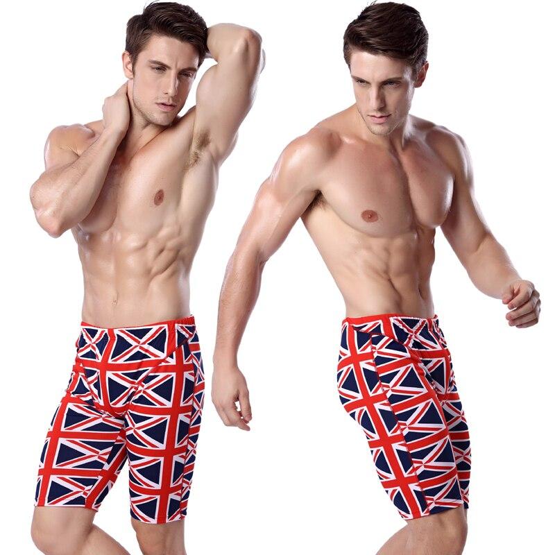UK Flag Print Swimming Jammer Knee Length Swim Trunks Men Elastic-band Man Swimwear Waist-tie Swimming Pants European