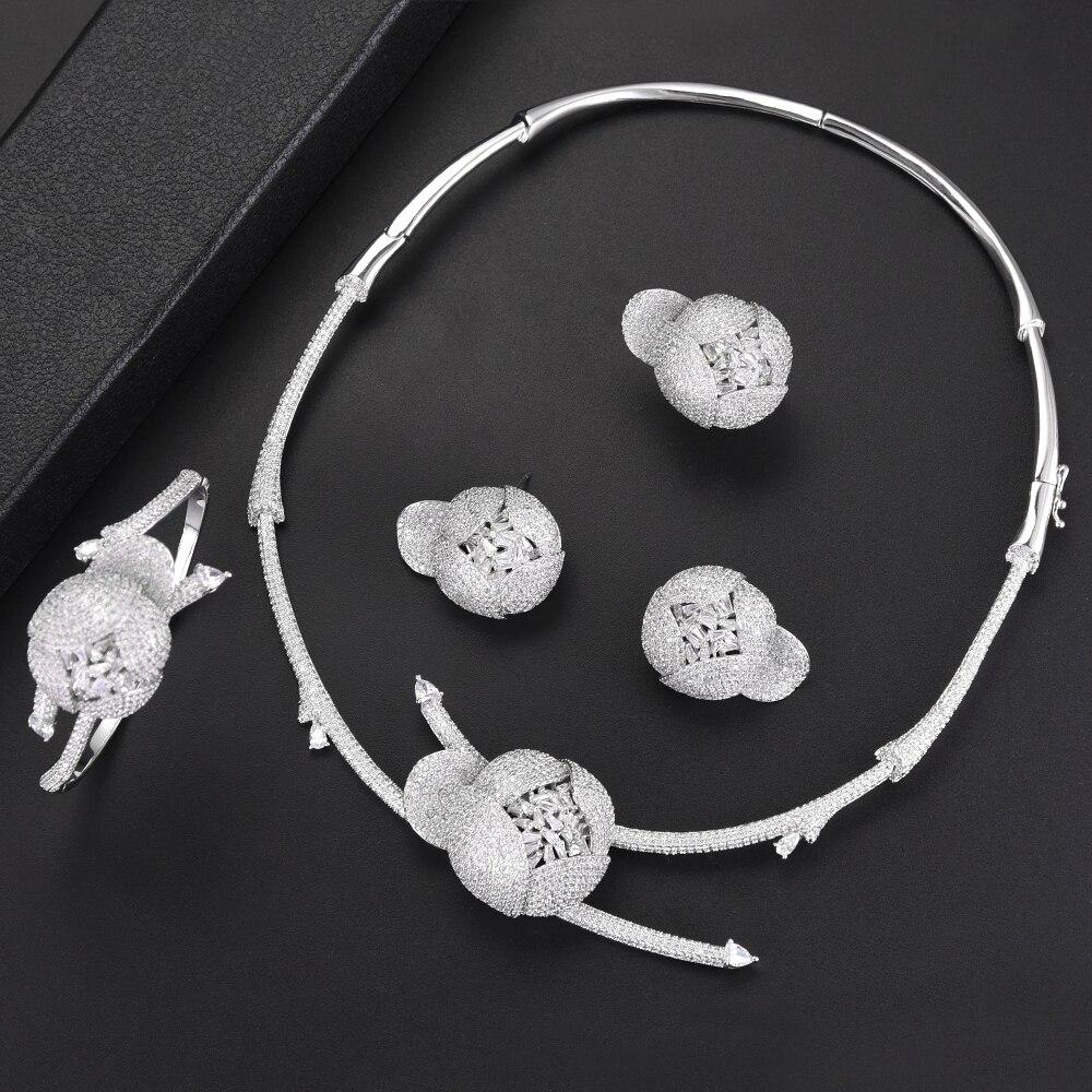 Missvikki accessoires femmes de luxe bracelet boucles d'oreilles collier bague ensemble de bijoux charme des femmes mariées bijoux de mariage de haut niveau