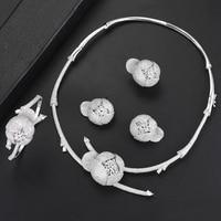 missvikki Luxury Women Accessories Bangle Earrings Necklace Ring Jewelry Set Charm of Women Brides Wedding Jewellery High Level