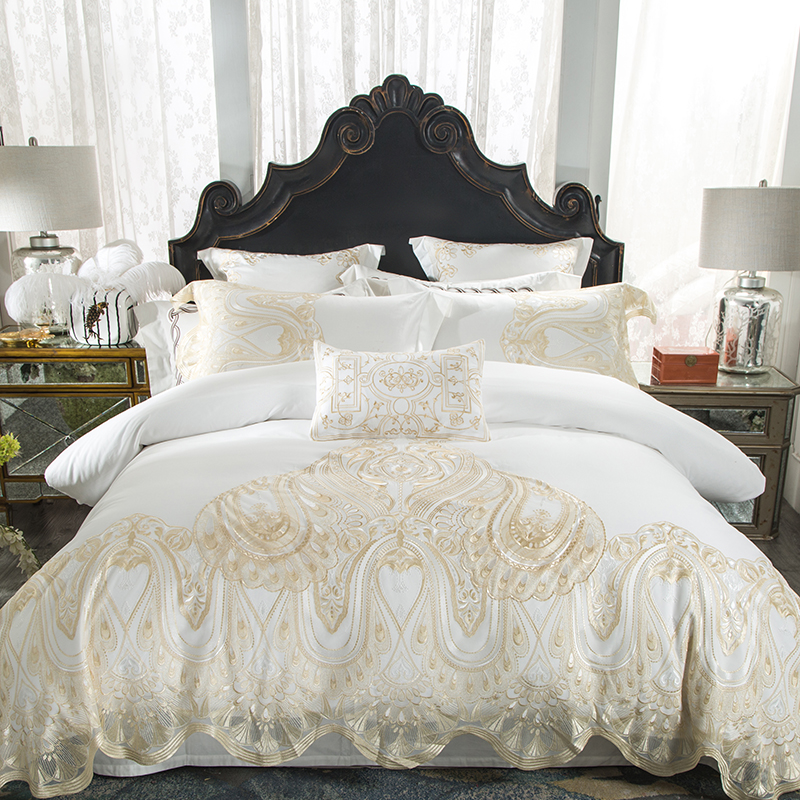 White Pink Luxury Lace Wedding Bedding Set Queen King size ...