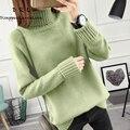 DRL Marca 2017 otoño y el invierno de cuello alto suéter Flojo suéter femenino de manga larga del todo-fósforo suéter básico engrosamiento