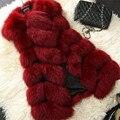 Новый 2016 Зима Теплая Женская Мода Импорт Пальто Меховой Жилет Высокого качество Искусственного Меха Пальто Лисий Мех Длинный Жилет Куртка Плюс Размер Z15