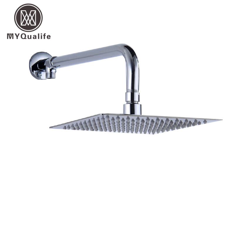 Free Shipping Stainless Steel 12 inch Ultrathin Shower Head Wall Mount Brass Shower Arm Chrome Finish