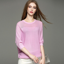 Women Pullovers 2016 New Autumn Fashion Hollow Out Batwing Sleeve O-Neck Slim Knitted Pullover Sweaters Women Loose Knitwear