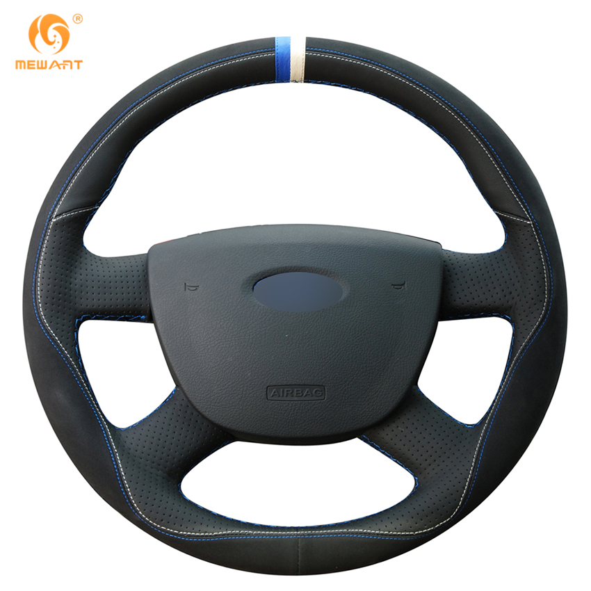 MEWANT Black Leather Black Suede Car Steering Wheel Cover for Ford Kuga 2008-2011 Focus 2 2005-2011 C-MAX 2007-2010 car rear trunk security shield shade cargo cover for kia sportag 2007 2008 2009 2010 2011 2012 2013 black beige