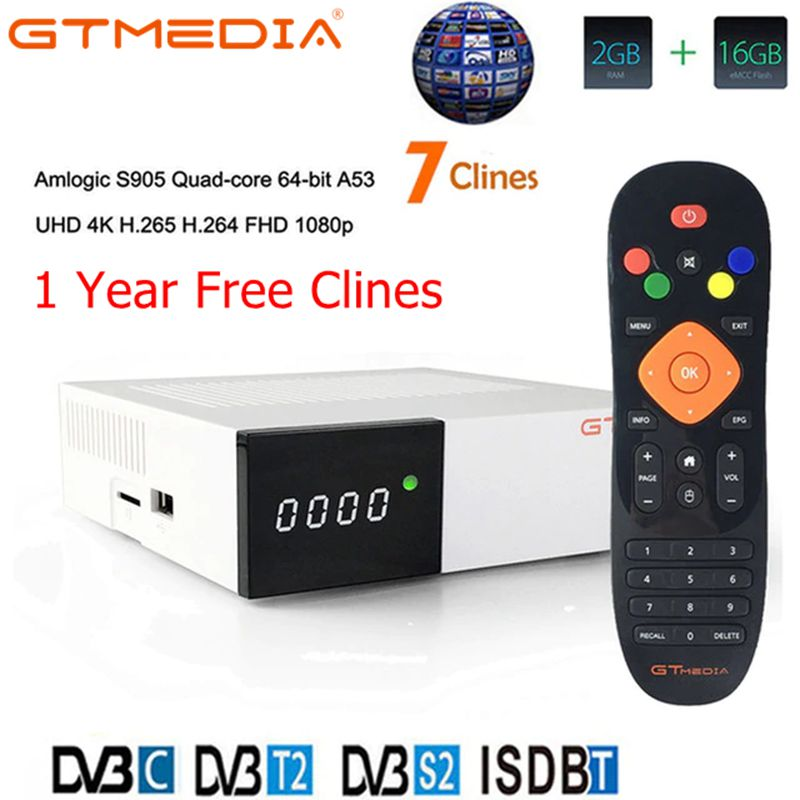 GTmedia GTC Récepteur Android 6.0 BOÎTE de télévision DVB-S2 DVB-C DVB-T2 Amlogic S905D 2GB 16GB + 1 An cccam Récepteur de TÉLÉVISION Par Satellite TV BOX - 5