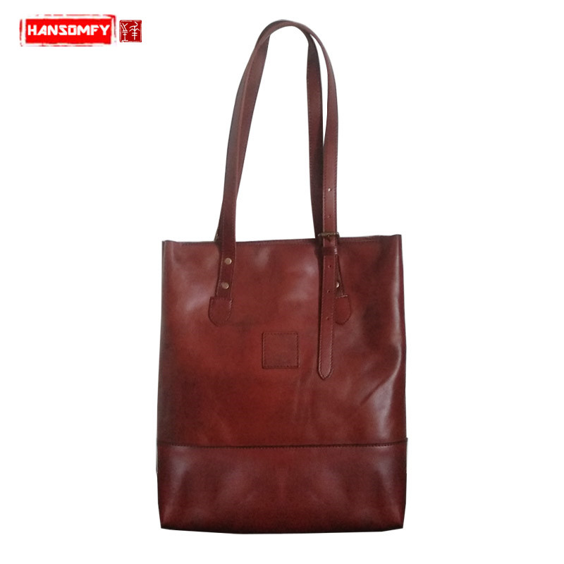 The first layer soft leather Women shoulder bag simple wild small tote bag literary retro Sen female genuine leather handbagsThe first layer soft leather Women shoulder bag simple wild small tote bag literary retro Sen female genuine leather handbags