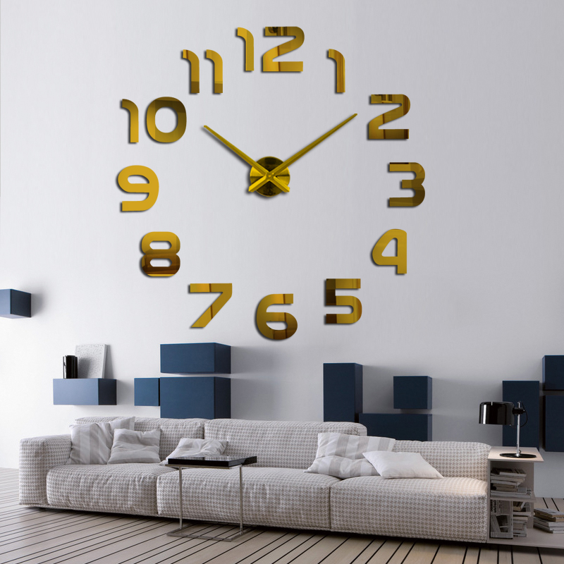 2017 New Real Mute Wall Clock Watch Living Room Needle Quartz Home  Decoration Clocks Acrylic Mirror Sticker Diy In Wall Clocks From Home U0026  Garden On ...