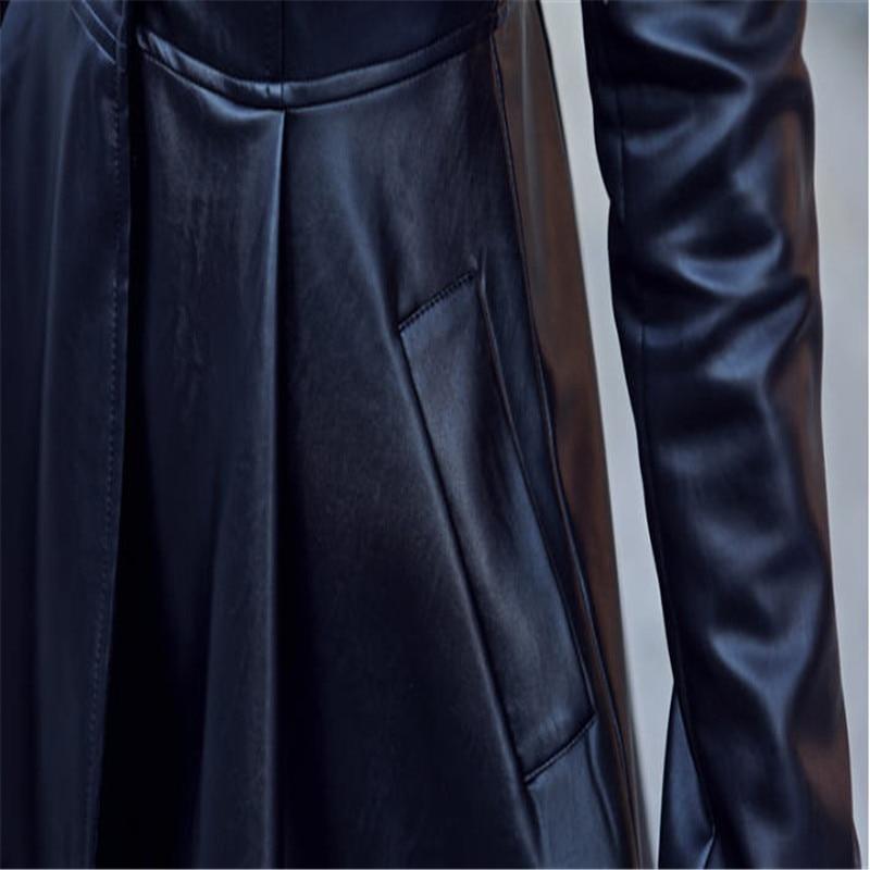 Manches Longues Longue En Cuir Taille À Pour Pu Red Sexy deep Rouge Black Noir Plus A1672 Manteaux Automne Mode Printemps La Femmes Vestes Robe aqvO77n