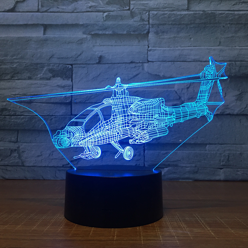 7 Color Helicop Plane 3D LED Desk Table Lamp Laser Engraving 3D Night Light Baby Bedroom Sleeping Lighting For Xmas Gift