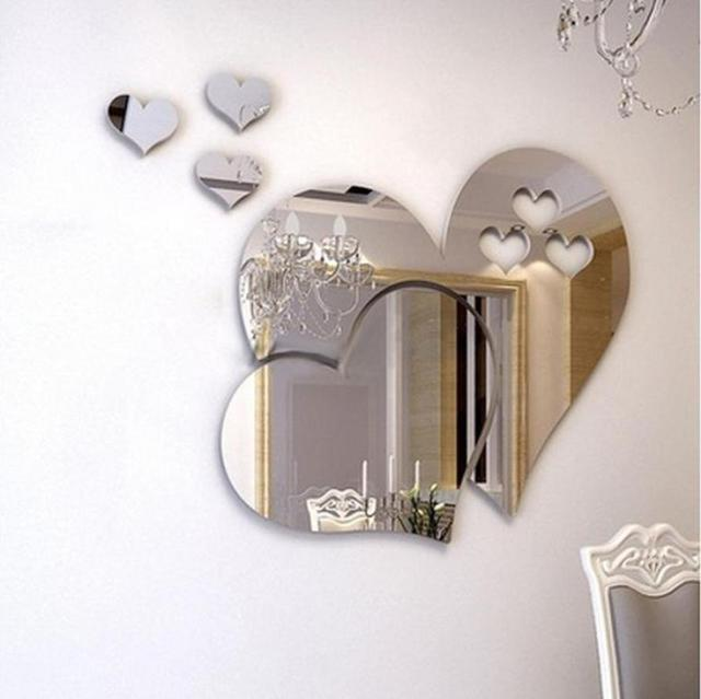 Wallstickers 3D Mirror Love Hearts Stickers DIY Removable Room Decal Wall Sticker Etiqueta Da Parede 18JAN26