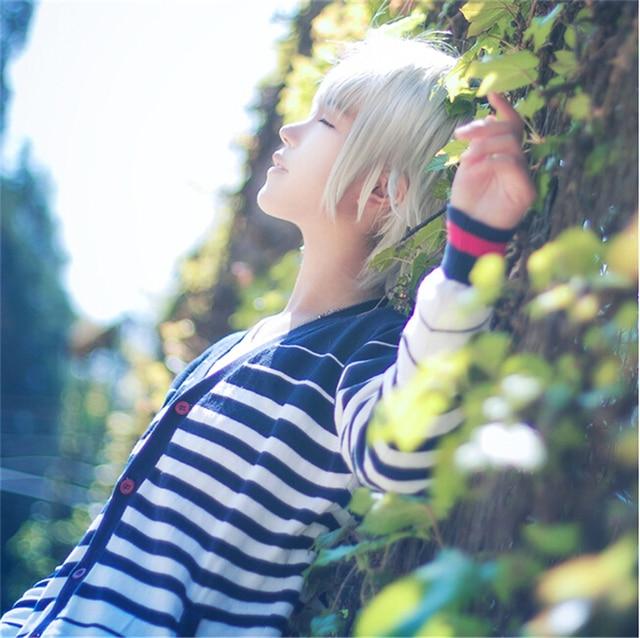 Spedizione Gratuita EVA Neon Genesis Evangelion Kaworu Nagisa Moda 35 CM  Capelli Corti Grigio Argento Parrucca c6a6de8e0475