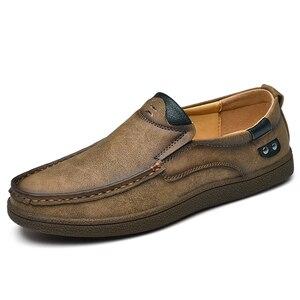 Image 2 - Mocasines planos de cuero partido para hombre, calzado informal de talla grande 46, para otoño